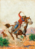 Paintings, GAYLE PORTER HOSKINS (American, 1887-1962). Cowboy. Oil on canvas. 34-1/2 x 25 inches (87.6 x 63.5 cm). Signed lower lef...