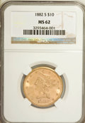 Liberty Eagles: , 1882-S $10 MS62 NGC. NGC Census: (69/21). PCGS Population (51/11).Mintage: 132,000. Numismedia Wsl. Price for NGC/PCGS coi...