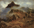 Works on Paper, PROPERTY FROM A PRIVATE COLLECTION. . ALBERT BIERSTADT (American, 1830-1902). Study of Rocky Mountains. Oil on paper lai...