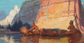 Paintings, REMINGTON SCHUYLER (American, 1884-1955). Indians Paddling a Canoe. Oil on canvas. 20 x 38 inches (50.8 x 96.5 cm). Sign...