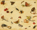 Fine Art - Painting, American:Antique  (Pre 1900), DUTCH SCHOOL (19th Century). Flora and Fauna. Oil on board.8-1/4 x 10-1/2 inches (21.0 x 26.7 cm). ...