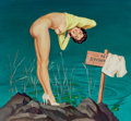 Pin-up and Glamour Art, AL BRULE (American, 20th Century). No Swimming. Gouache onboard. 24.5 x 26 in.. Signed lower left. ...