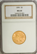 Liberty Half Eagles: , 1896 $5 MS64 NGC. NGC Census: (29/5). PCGS Population (14/2).Mintage: 59,063. Numismedia Wsl. Price for NGC/PCGS coin in M...