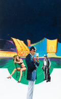 Pulp, Pulp-like, Digests, and Paperback Art, BARNETT PLOTKIN (American, 1932-2003). Diamonds Are Forever,James Bond paperback cover, 1981. Gouache on board. 30 x 20...