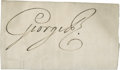 "Autographs:Non-American, George III Signature ""George R."" as King of England, 5"" x3"", n.d., n.p. A strong signature. Toned..."