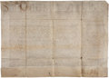 "Autographs:Non-American, [Pope Sixtus V] Papal Bull. One page with docketing on the verso,33"" x 24"", May 25, 1585, Rome, on vellum, in Latin. Althou..."