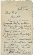 "Autographs:Celebrities, Henry Ward Beecher Autograph Letter Signed. One page, 4.75"" x 8"",October 10, 1885, Brooklyn, New York, on Beecher's persona..."