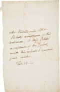 "Autographs:Statesmen, Daniel Webster Autograph Note Signed in the third person. One pageremoved from a book, 6"" x..."