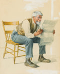 Mainstream Illustration, ARTHUR BURDETT FROST (American, 1851-1928). Old Man Reading aNewspaper. Watercolor and gouache on paper. 16 x 13 in.. N...
