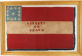 """Military & Patriotic:Civil War, Wonderful """"Liberty Or Death"""" Confederate Flag with Custer Capture History. ..."""