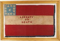 """WONDERFUL """"LIBERTY OR DEATH"""" CONFEDERATE FLAG WITH CUSTER CAPTURE HISTORY"""