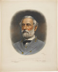 "Military & Patriotic:Civil War, Robert E. Lee: Color Mezzotint Portrait, 22"" x 27"", published by Bradley & Company. The print was produced with the blessing..."