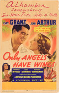 "Movie Posters:Drama, Only Angels Have Wings (Columbia, 1939). Autographed Window Card(14"" X 22"").. ..."