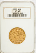 Liberty Eagles, 1862 $10 XF40 NGC....
