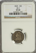 Bust Dimes: , 1825 10C VF20 NGC. JR-3. NGC Census: (1/84). PCGS Population(1/68). Mintage: 410,000. Numismedia Wsl. Price for NGC/PCGS ...