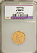 Three Dollar Gold Pieces, 1854-O $3 --Repaired--VF20 NCS. VF Details. NGC Census: (2/696). PCGS Population (3/419). Mintage: 24,000. Numismedia Ws...