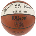 Basketball Collectibles:Balls, 1977 Pete Maravich Sixty-Eighth Point Game Used Basketball....