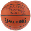 Basketball Collectibles:Balls, 1987 Hall of Famers Signed Basketball with Maravich....
