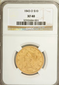 Liberty Eagles: , 1843-O $10 XF40 NGC. NGC Census: (41/292). PCGS Population(38/120). Mintage: 175,162. Numismedia Wsl. Price for NGC/PCGS c...