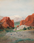 American:Western, HAMILTON IRVING MARLATT (American, 1867-1929). Pike's Peak fromthe Garden of the Gods, circa 1885. Oil and gouache on b...