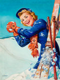 Mainstream Illustration, ELLEN BARBARA SEGNER (American, d. 2001). Fun on the Slopes,magazine cover. Oil on canvas. 34 x 32 in.. Signed lower le...