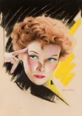 Pin-up and Glamour Art, CHARLES GATES SHELDON (American, 1889-1960). Katherine Hepburn,movie magazine cover. Pastel on board. 16.5 x 12 in.. Si...