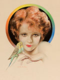 Pin-up and Glamour Art, CHARLES GATES SHELDON (American, 1889-1960). Clara Bow,Photoplay Magazine cover, 1929. Pastel on paper. 24 x 19 in..Si...