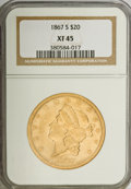 Liberty Double Eagles: , 1867-S $20 XF45 NGC. NGC Census: (237/648). PCGS Population(100/199). Mintage: 920,750. Numismedia Wsl. Price for NGC/PCGS...