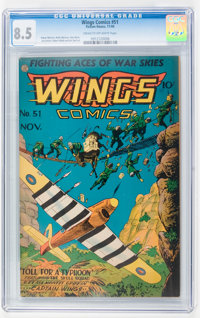 Wings Comics #51 (Fiction House, 1944) CGC VF+ 8.5 Cream to off-white pages
