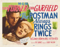 "Movie Posters:Film Noir, The Postman Always Rings Twice (MGM, 1946). Title Lobby Card andLobby Card (11"" X 14"").. ... (Total: 2 Items)"