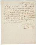 """Autographs:Military Figures, Albert Sidney Johnston: Letter Signed as Secretary of War for the Republic of Texas. One page, 7¾"""" x 9½"""", April 28, 1839, n...."""