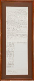 """Autographs:Military Figures, Third Cavalry, United States Colored Troops: Fort Pillow Autograph Document Signed Detailing the """"Wooster Incident"""" ..."""