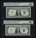 Error Notes:Mismatched Serial Numbers, Fr. 1621 $1 1957B Silver Certificates. Two Consecutive Examples. PMG Gem Uncirculated 66 EPQ.. ... (Total: 2 notes)