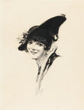 Paintings, JOSEPH CLEMENT COLL (American, 1881-1921). Portrait of a Woman with a Hat, Every Week illustration, August 4, 1916. Ink ...