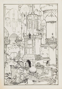 MICHAEL W. KALUTA (American, b. 1947) Treasures of Tartary, Chapter II, Swords of Shahrazar book illustration</...