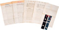 Military & Patriotic:Civil War, Historically Important Archive of 1861 Brooks Brothers Uniform Contracts with the State of New York, Including Original Cloth ... (Total: 6 Items)