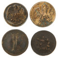 Military & Patriotic:Civil War, Group of Four Battlefield Recovered Confederate Buttons.... (Total: 4 Items)