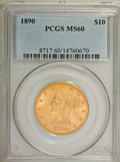 Liberty Eagles: , 1890 $10 MS60 PCGS. PCGS Population (28/146). NGC Census: (65/164). Mintage: 57,900. Numismedia Wsl. Price for NGC/PCGS coi...