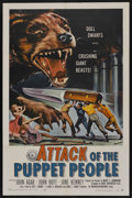 """Movie Posters:Science Fiction, Attack of the Puppet People (American International, 1958). OneSheet (27"""" X 41""""). Science Fiction. Starring John Agar, John..."""