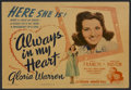 "Movie Posters:Musical, Always in My Heart (Warner Brothers, 1942). Title Lobby Card (11"" X14""). Drama. Starring Kay Francis, Walter Huston, Gloria..."