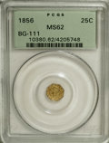 California Fractional Gold: , 1856 25C Liberty Octagonal 25 Cents, BG-111, R.3, MS62 PCGS. PCGSPopulation (80/116). NGC Census: (10/17). (#10380)...