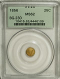 California Fractional Gold, 1856 25C Liberty Round 25 Cents, BG-230, Low R.4, MS62 PCGS. PCGSPopulation (29/60). NGC Census: (1/7). (#10415)...