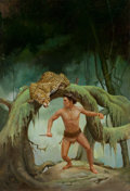 Pulp, Pulp-like, Digests, and Paperback Art, AMERICAN ARTIST (20th Century). Bomba the Jungle Boy on JaguarIsland, book cover. Acrylic on board. 20 x 14 in.. Initia...