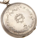 """Military & Patriotic:Civil War, Civil War Period Silver, Key Wind, Key Set Watch, inscribed in script on the front cover of the case, """"Sergt. E. S. Goul..."""