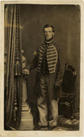Photography:CDVs, Early War CDV Portrait of a Civil War Federal Infantry Musician. Wears nine button regulation musician's frock coat with ver...