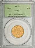 Liberty Half Eagles: , 1888 $5 MS63 PCGS. PCGS Population (24/2). NGC Census: (17/5).Mintage: 18,296. Numismedia Wsl. Price for NGC/PCGS coin in ...