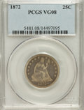 Seated Quarters: , 1872 25C VG8 PCGS. PCGS Population (2/37). NGC Census: (0/38).Mintage: 182,000. Numismedia Wsl. Price for NGC/PCGS coin in...