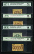 Fractional Currency:First Issue, First Issue Fractionals- Postage Currency. Four Examples....(Total: 4 notes)
