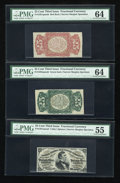 Fractional Currency:Group Lots, Group of Three Fessenden Narrow Margin Specimens PMG Choice Uncirculated 64 (2) and PMG About Uncirculated 55.... (Total: 3 notes)