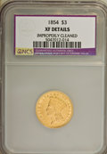 Three Dollar Gold Pieces: , 1854 $3 --Improperly Cleaned--NCS. XF Details. NGC Census: (54/3075). PCGS Population (72/2285). Mintage: 138,618. Numismedi...